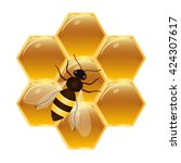 honeycombs with honey and bee.... | Shutterstock .eps vector #424307617