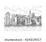 panoramic view of manhattan ... | Shutterstock .eps vector #424319017