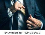 money in pocket  businessman... | Shutterstock . vector #424331413