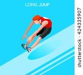 athletics long jumper male... | Shutterstock .eps vector #424335907