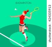 badminton player sportswoman... | Shutterstock .eps vector #424335913