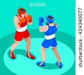 boxing players fighting... | Shutterstock .eps vector #424340077