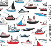 vector seamless marine pattern. ... | Shutterstock .eps vector #424361473