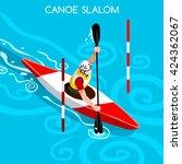 kayak slalom canoe sportsman... | Shutterstock .eps vector #424362067