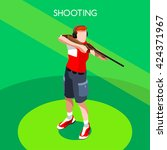 shooting male player sportsman... | Shutterstock .eps vector #424371967