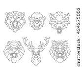 line art animals heads | Shutterstock .eps vector #424375003