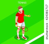tennis player sportsman games... | Shutterstock .eps vector #424381717