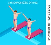 synchronized divers swimmers on ... | Shutterstock .eps vector #424381723