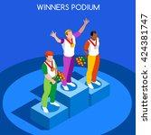 podium sport athletic logo... | Shutterstock .eps vector #424381747