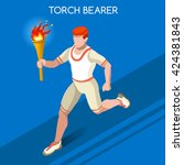 athletics torch bearer baton... | Shutterstock .eps vector #424381843