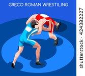 freestyle wrestling greco roman ... | Shutterstock .eps vector #424382227