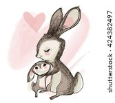 cute little hare with mom | Shutterstock .eps vector #424382497