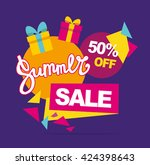 summer sale vector banner. 50... | Shutterstock .eps vector #424398643