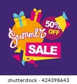 summer sale vector banner. 50... | Shutterstock .eps vector #424398643