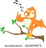 cute bird singing | Shutterstock .eps vector #424399873