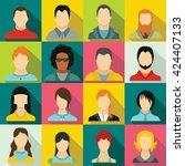 avatar set in flat style for...   Shutterstock .eps vector #424407133
