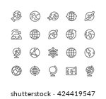 simple set of globe related... | Shutterstock .eps vector #424419547