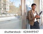 portrait of an african american ...   Shutterstock . vector #424449547