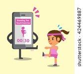 cartoon smartphone helping... | Shutterstock .eps vector #424469887