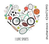 collection of vector sport... | Shutterstock .eps vector #424471993