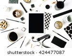 flay lay composition for... | Shutterstock . vector #424477087