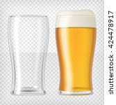two beer glasses. one empty mug ... | Shutterstock .eps vector #424478917