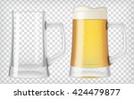 two beer mugs. an empty glass... | Shutterstock .eps vector #424479877