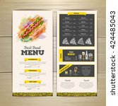 vintage chalk drawing fast food ... | Shutterstock .eps vector #424485043