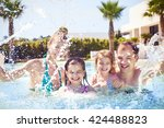happy family with two kids... | Shutterstock . vector #424488823