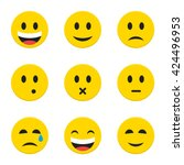 yellow smiley faces objects.... | Shutterstock .eps vector #424496953