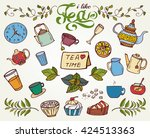 colorful hand drawn tea time... | Shutterstock .eps vector #424513363