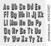 3d sketch font. sketch font set.... | Shutterstock .eps vector #424515307