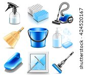 cleaning icons detailed photo... | Shutterstock .eps vector #424520167