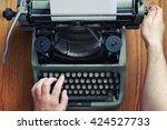 typewriter retro hand on wooden ... | Shutterstock . vector #424527733
