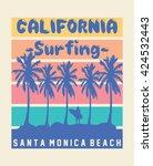 california surfing  santa... | Shutterstock .eps vector #424532443