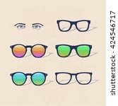 set of hipster sunglasses with... | Shutterstock .eps vector #424546717