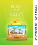 enjoy the summer.travel... | Shutterstock .eps vector #424550683