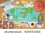 flat vector web banner on the... | Shutterstock .eps vector #424551403