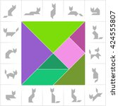 tangram  cats. set of cards for ... | Shutterstock .eps vector #424555807