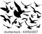 vector set of silhouettes of 20 ...   Shutterstock .eps vector #424561027