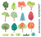 set of watercolor trees.... | Shutterstock .eps vector #424565407