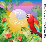 tropical vacation banner.... | Shutterstock .eps vector #424572493