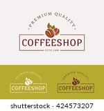 coffee shop logos. templates... | Shutterstock .eps vector #424573207