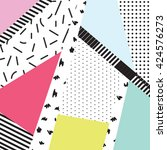 memphis color blocks and dash...   Shutterstock .eps vector #424576273