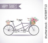 cute bicycle with basket full... | Shutterstock .eps vector #424589713