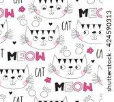seamless cute cat pattern... | Shutterstock .eps vector #424590313