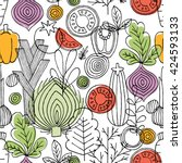 vegetables seamless pattern.... | Shutterstock .eps vector #424593133