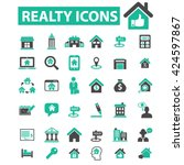 realty icons  | Shutterstock .eps vector #424597867
