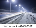 Winter Highway At Night Shined...