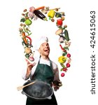 chef juggling with vegetables... | Shutterstock . vector #424615063